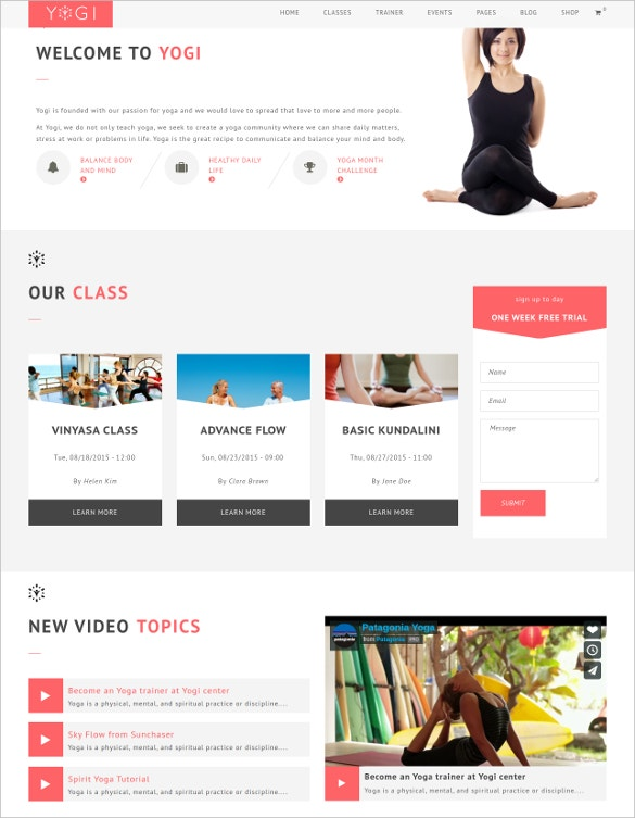 spa yoga drupal template