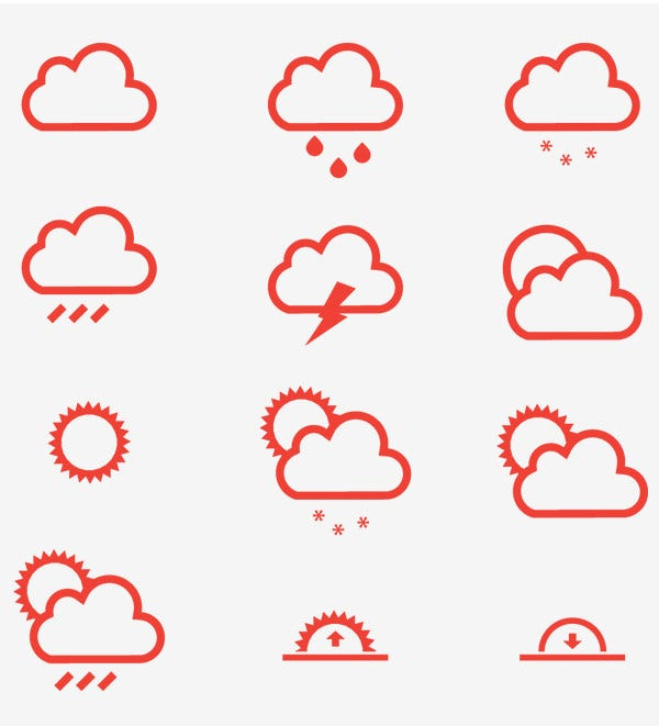 12 red weather icon set vector