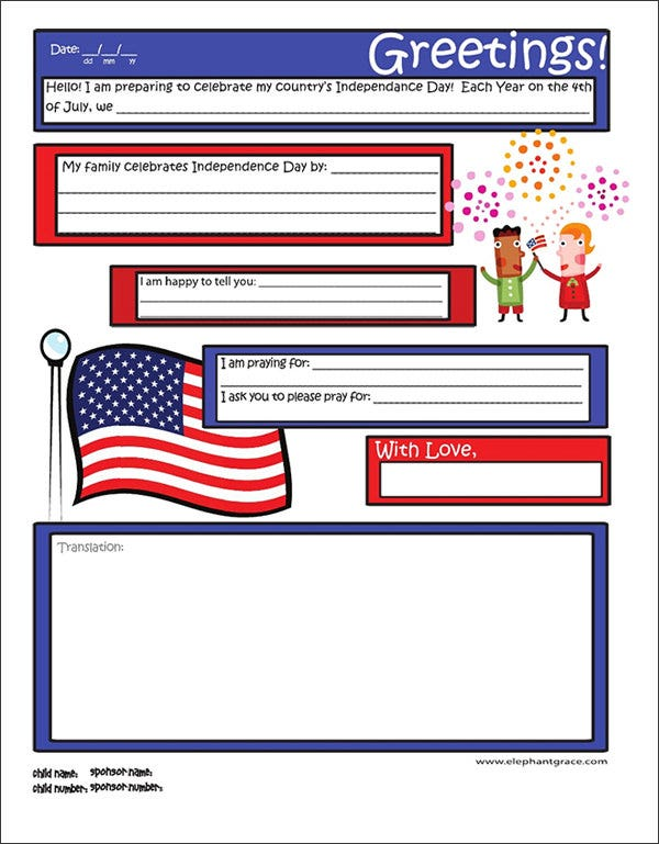 10 letter templates for kids free sample example format