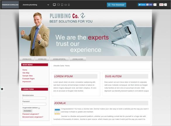 Plumbing Company Joomla Template
