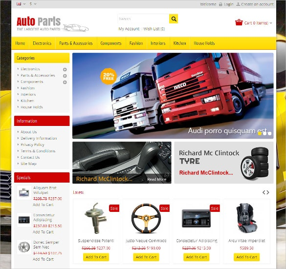 Responsive Auto Parts Opencart Template