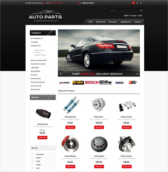 15 Popular Auto Parts Open Cart Themes Amp Templates Free