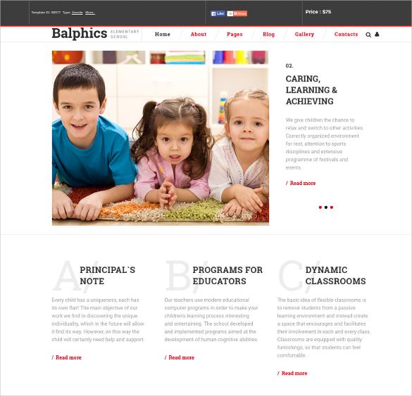 Elementary Responsive Kindergarten Joomla Template