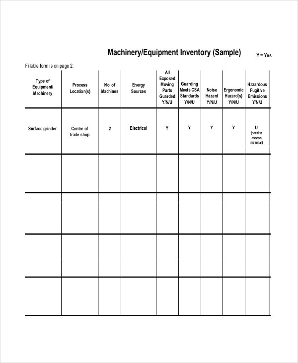 equipment inventory list template
