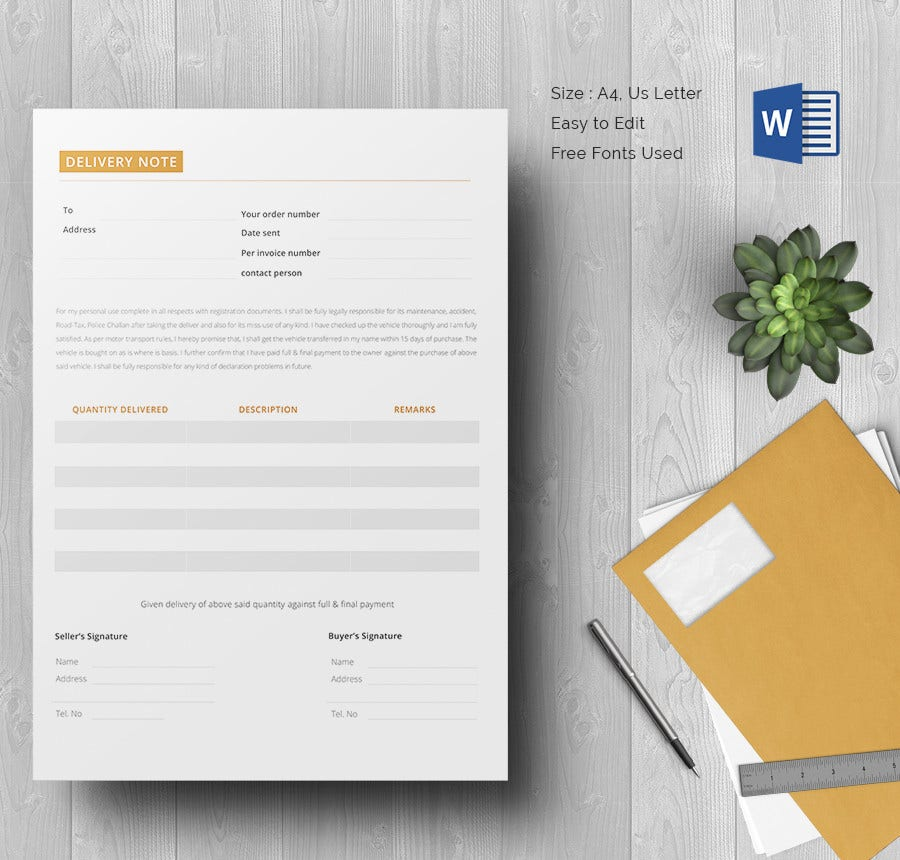 Blank Delivery Note Template Word Doc Download