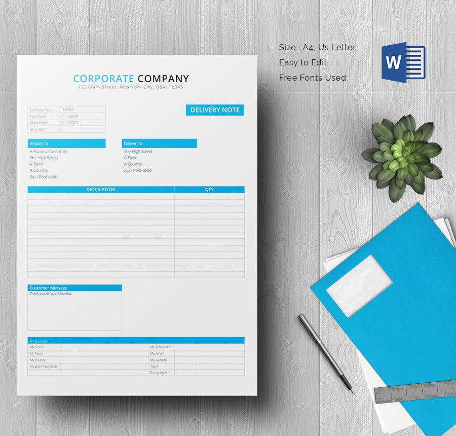 Gadget Delivery Note Template