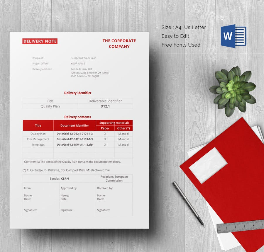Sample Delivery Note Template Download