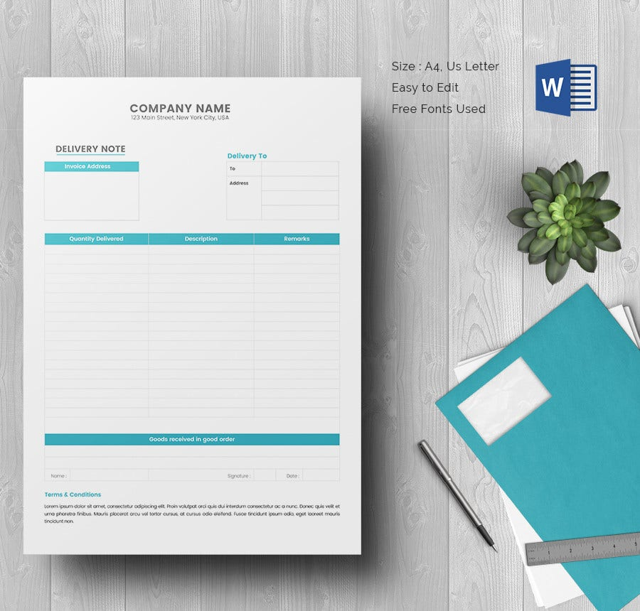 Delivery Note Template MS Word Download