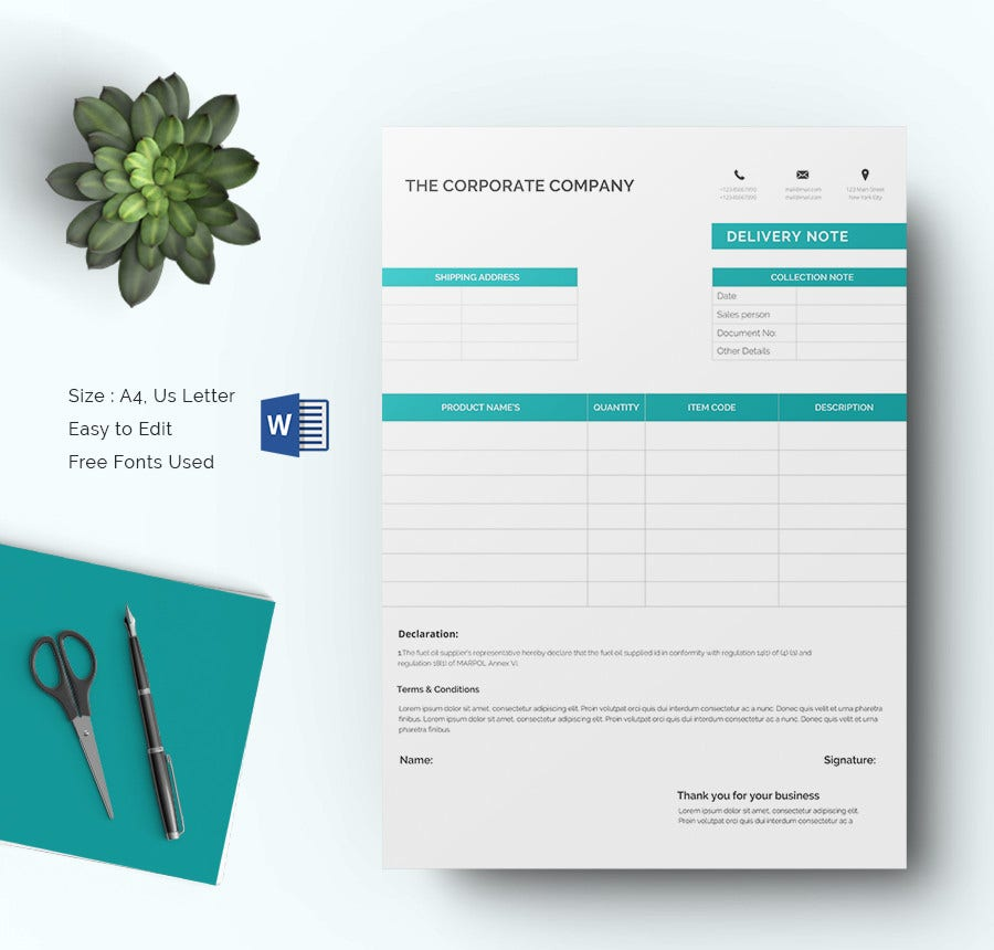 Delivery Note Template Download