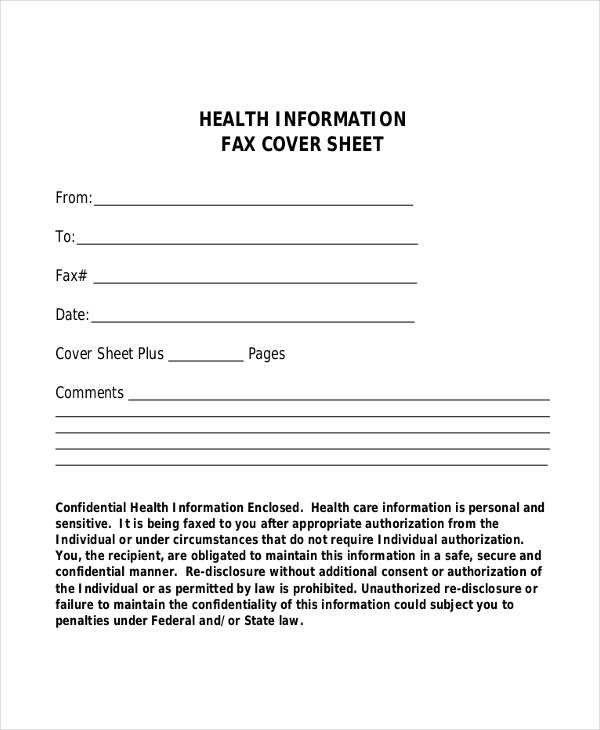 Health Information Fax Cover Sheet