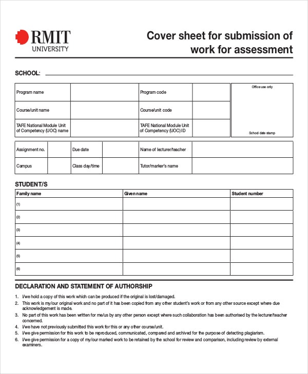 Cover Sheet for Submission of Work for Assessment