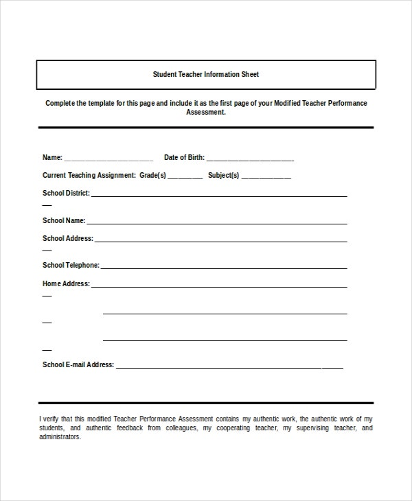 Teacher Information Sheet Template