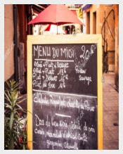 Restaurant Chalkboard with Menu in French Template