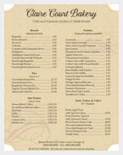 Antique Bakery Menu Template