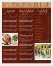 Restaurant Take Out Menu Trifold Brochure Template