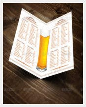 Half Fold Beer Menu Vector EPS Template