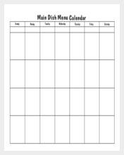 Blank Menu Calendar Template