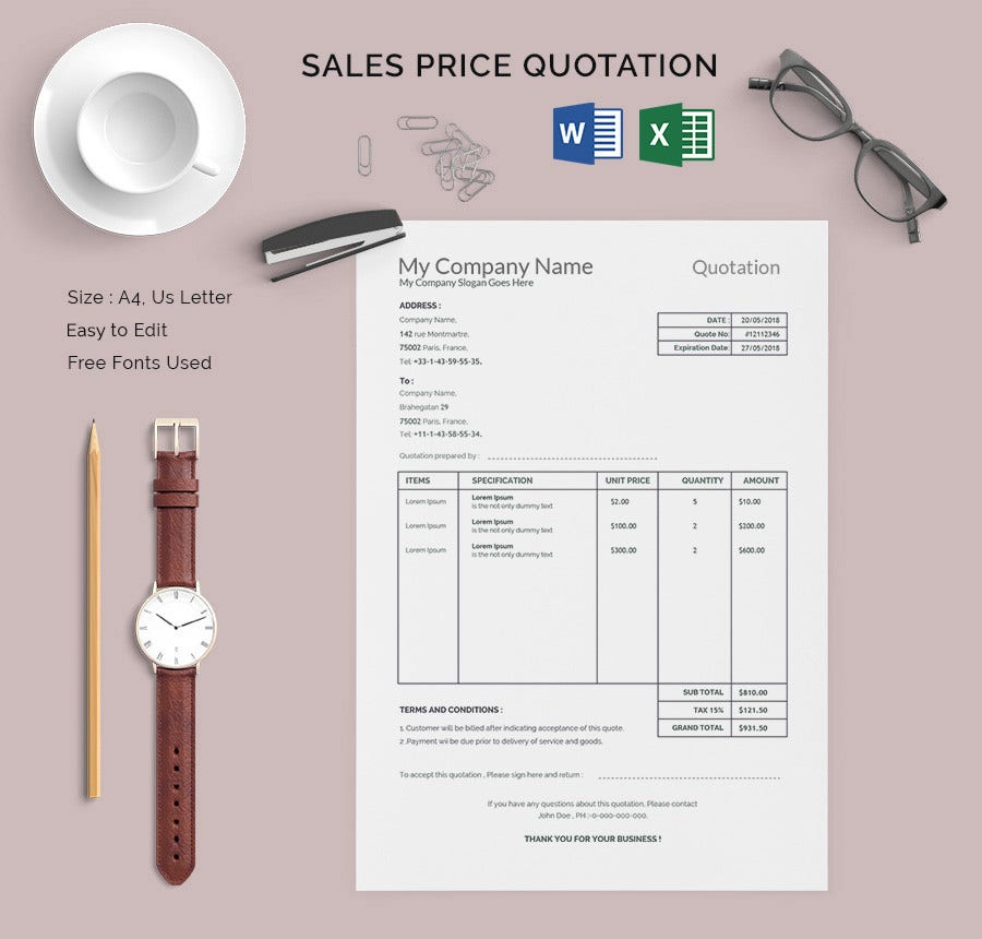 Sales Price Quotation Template