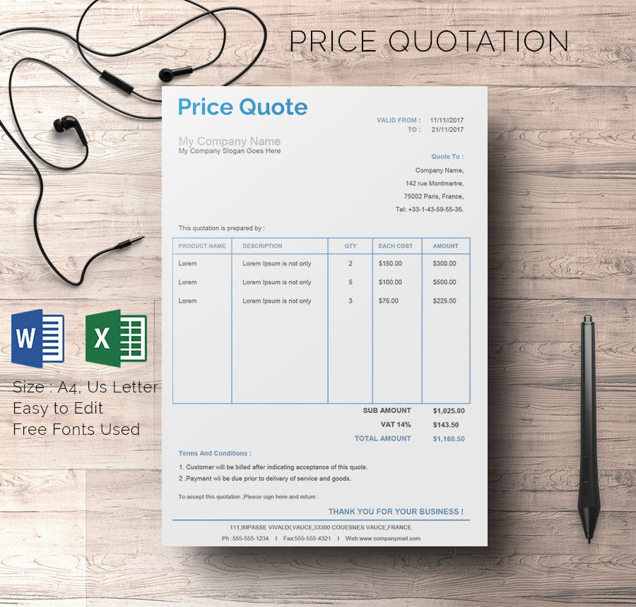 Company Price Quotation Excel Template