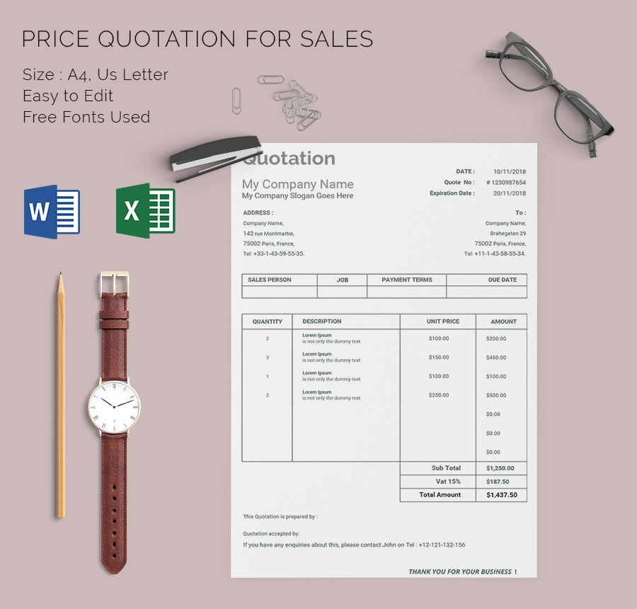 Price Quote Template: 15+ Free Word, Excel, PDF