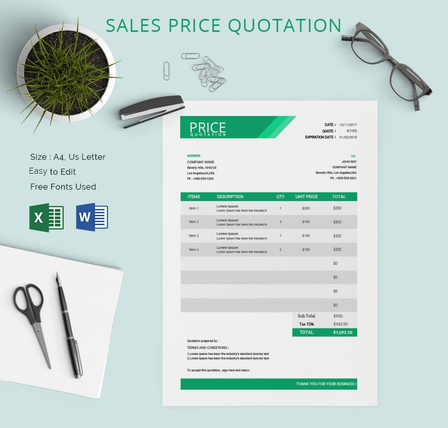 Price quotation template 15 free word excel pdf for Kitchen design quotation