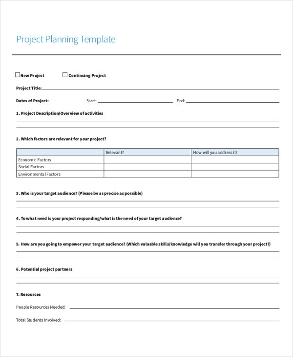 Project Planning Sheet Template