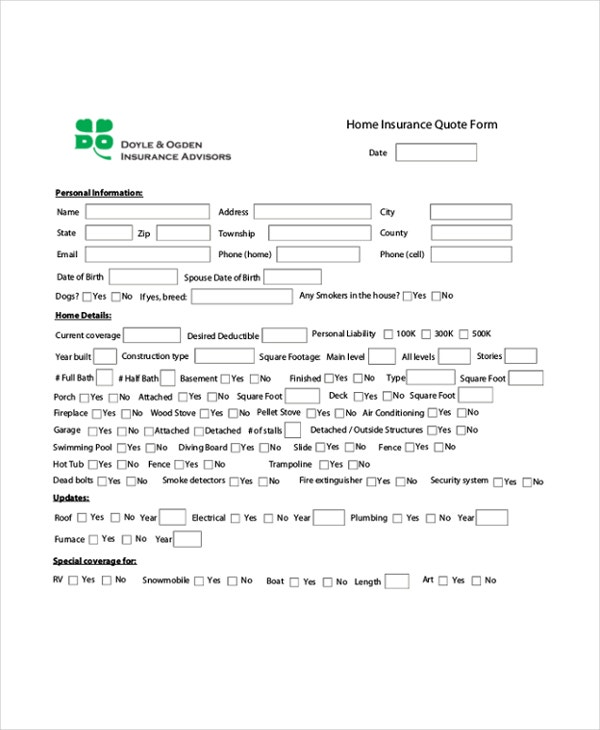 Life Insurance Quote Form Unique Quote Sheet Template  5 Free Word Pdf Documents Download  Free