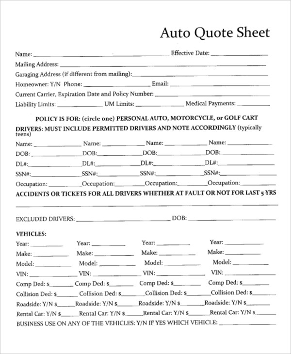 Auto Insurance Quote Form Template - 44billionlater