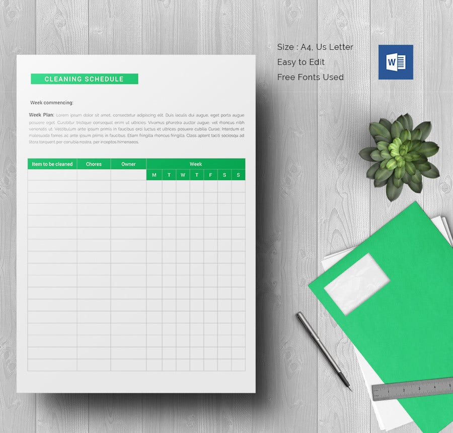 Cleaning Schedule Template 33 Free Word Excel PDF Documents – Schedule Design Templates