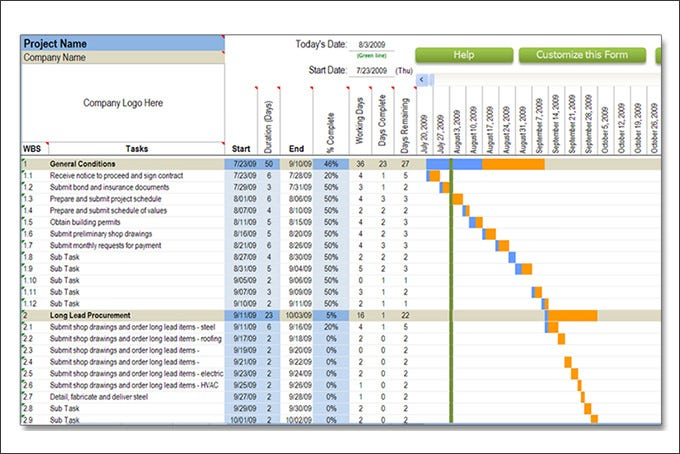 Construction Schedule Templates Free Word Excel PDF Format - Program timeline template excel