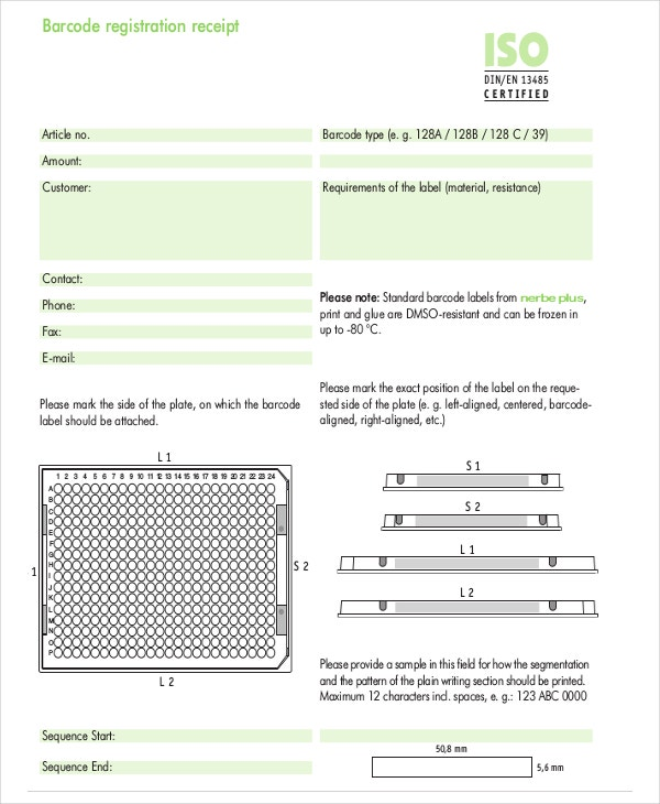 Barcode Registration Receipt Template