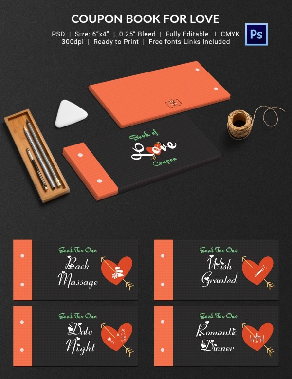 Romantic Love Coupon Book Template Download
