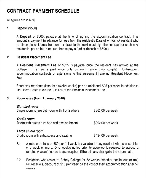 Installment Agreement Template Contract Payment Schedule Template