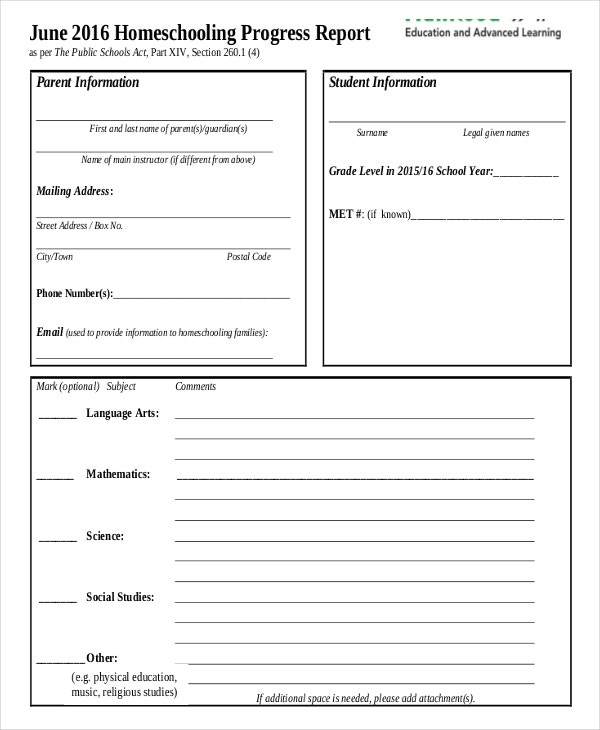 Report Card Template   Free Word Excel Pdf Documents Download