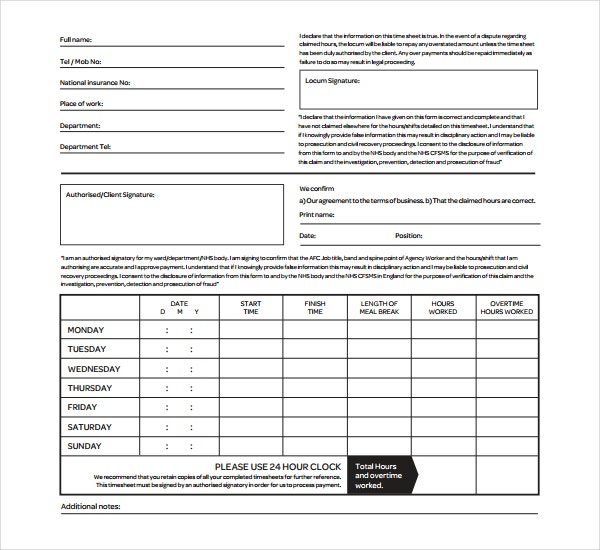 15+ Overtime Sheet Templates – Free Sample, Example Format