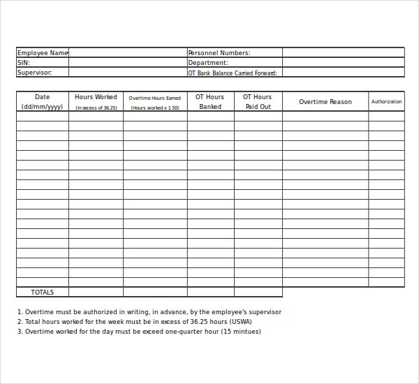 Overtime Sheet Templates  Free Sample Example Format