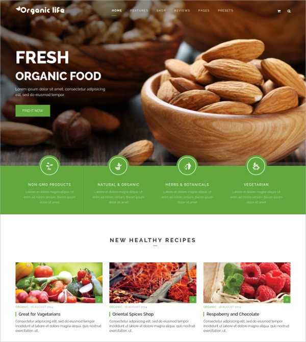 organic food diet nutrition joomla theme