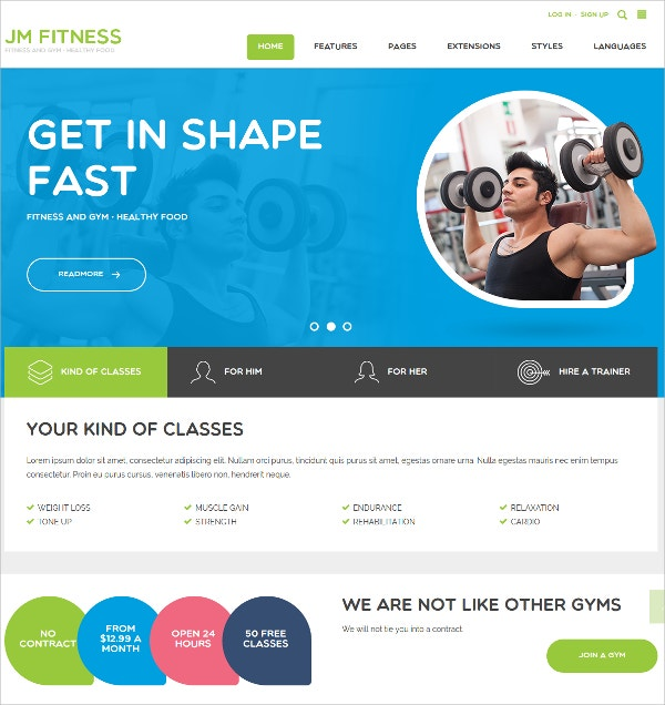 fitness diet joomla theme