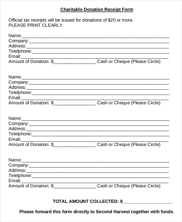 Charitable Donation Receipt Form