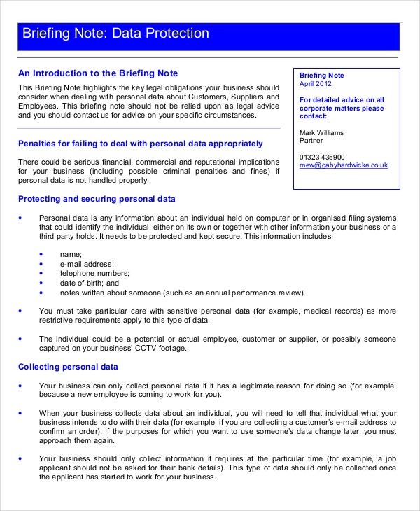 briefing document template 10  Briefing Note Templates - PDF, DOC | Free
