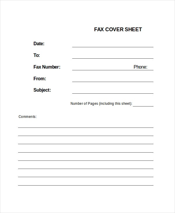 fax cover sheet template xls