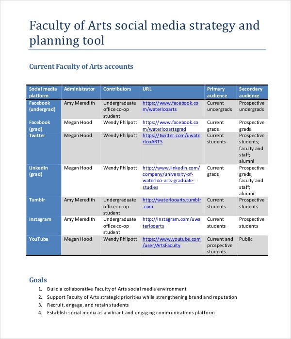 Marketing strategy plan template 12 word pdf documents for Social media communication plan template