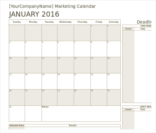 Marketing Calendar Template   Free Excel Documents Download  Free