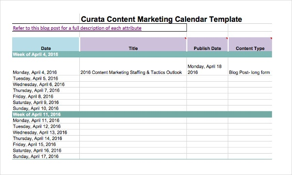 Curata Marketing Calendar Template