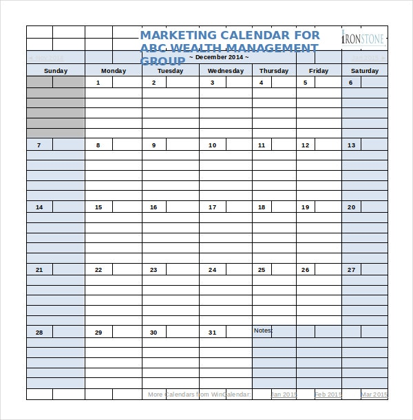 Marketing Calendar Template   Free Excel Documents Download