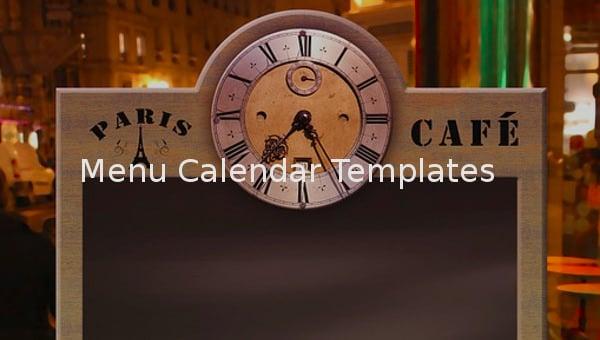 featured image menu calendar template