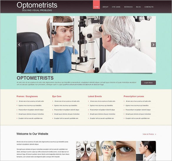 medical optometrist's responsive wordpress template