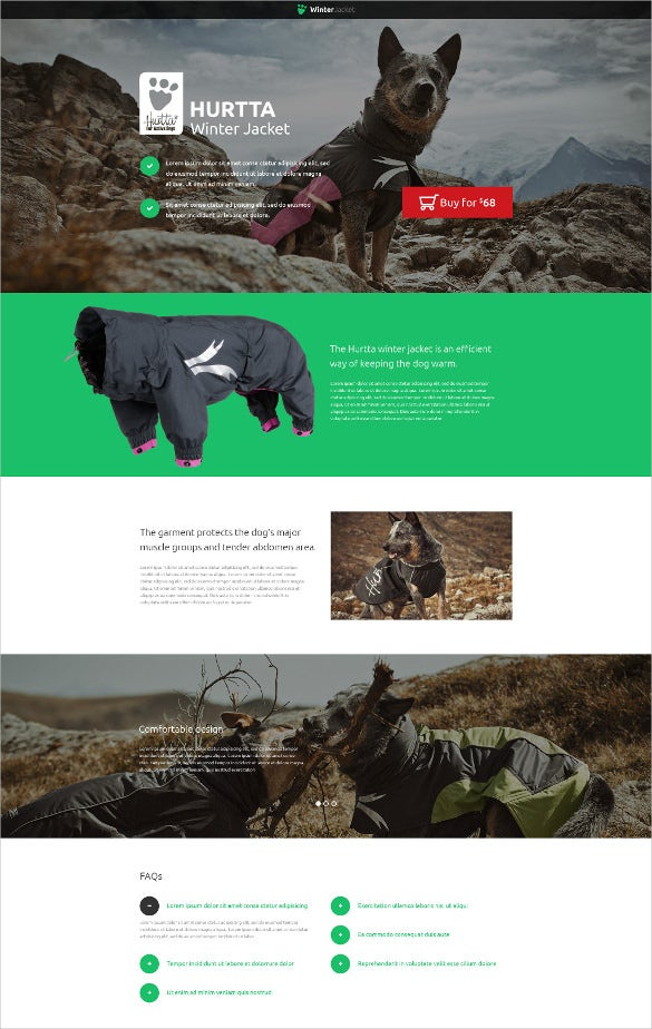 animals pets landing page static template