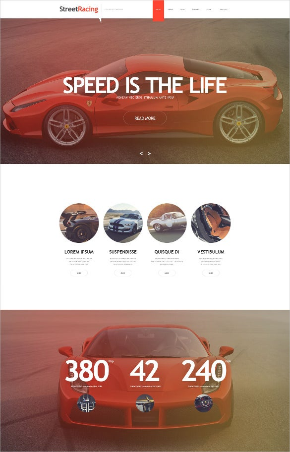 car racing muse static template