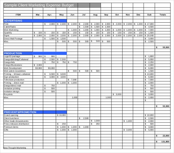 Marketing Budget Template   Free Excel Word Documents Download
